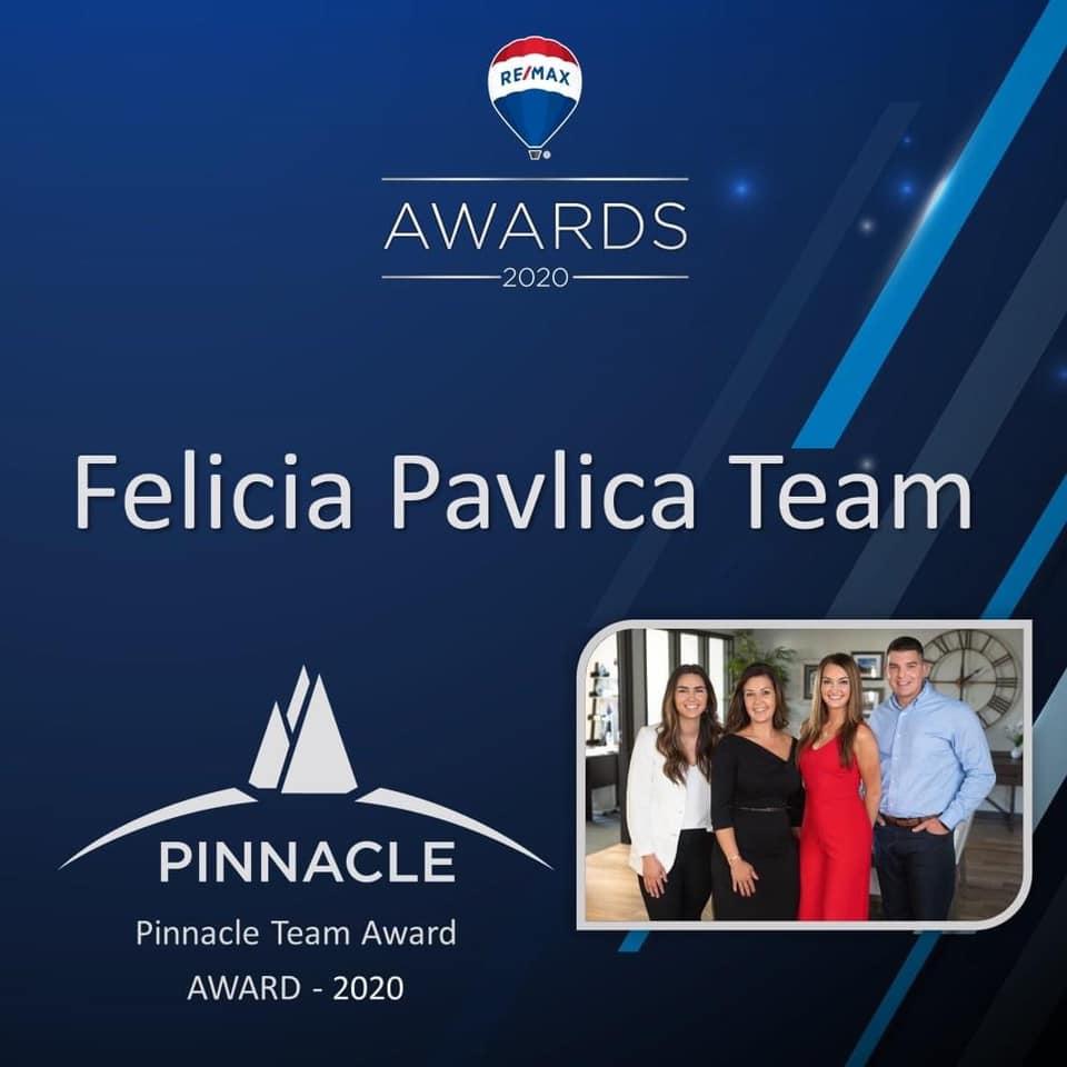 felicia pavlica team, real estate agents, pinnacle team award